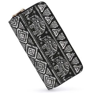 Handbags - Boho Aztec Elephant Zip Wallet